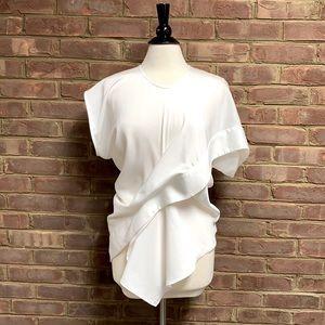 Gracia White Asymmetrical Short Sleeve Top